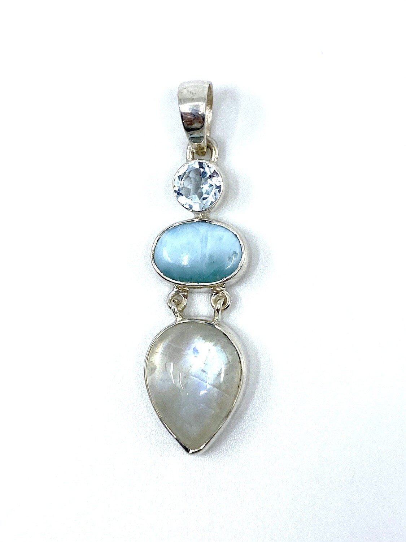 Moonstone / Larimar / Blue Topaz Crystal Pendant