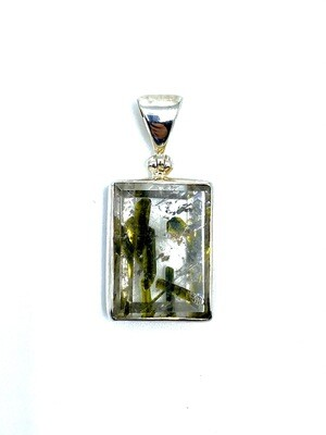 Epidote in Quartz Crystal Pendant