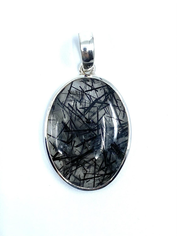 Tourmalinated Quartz Crystal Pendant