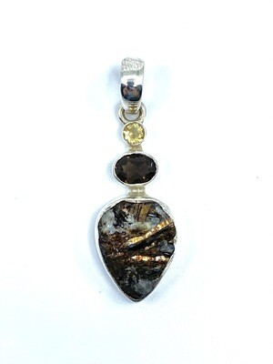 Astrophyllite / Smoky Quartz / Citrine Crystal Pendant