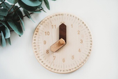 Wooden Toy  Clock With Minutes