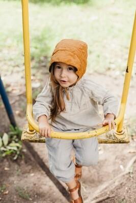 Le Petite Alice Reversible Linen Brimmed Bonnet Mustard + Moss