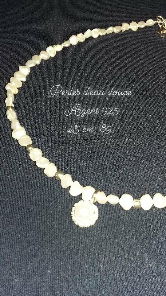 Bijou en perles d eau douce et argent
