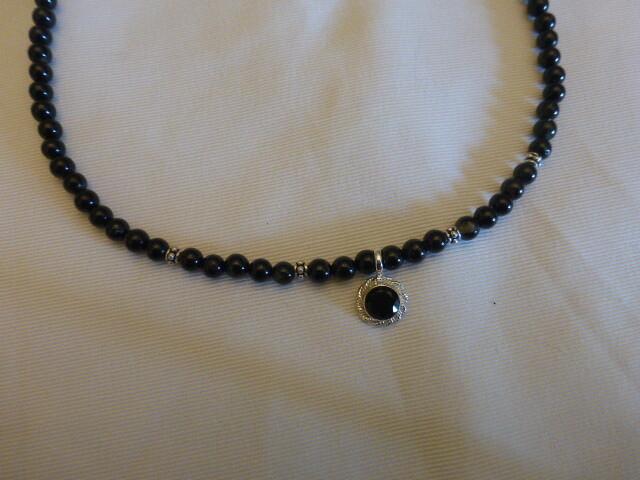 Collier en tourmaline noire et argent 44 cm