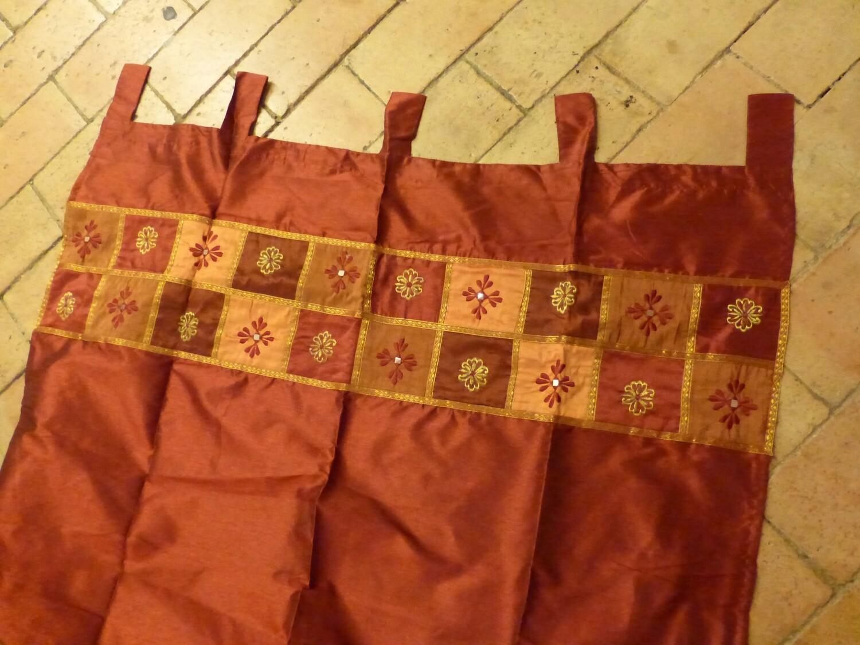 Rideau bordure patchwork orange et bordeau
