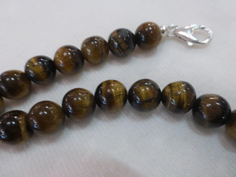 Collier tour de cou en oeil de tigre 42,5 cm  perles de 9-10 mm
