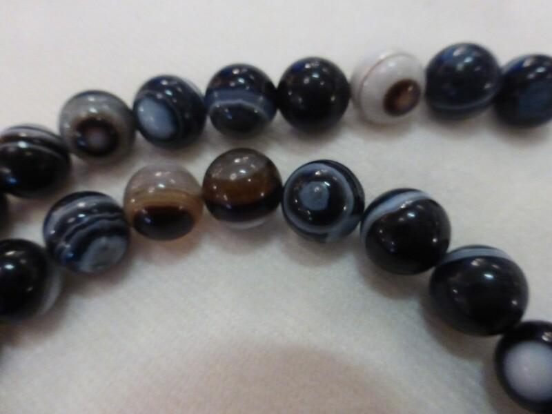 Collier de pierres semi-précieuses sardonyx 10 mm
