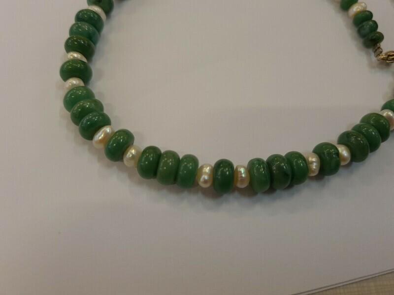 Collier tour de cou  en aventurine et perle 42,5 cm fermoir argent