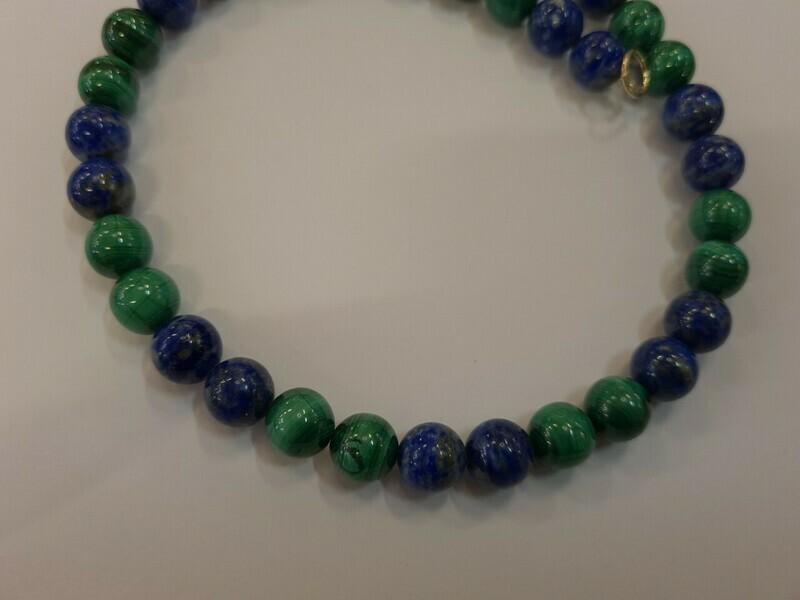 Magnifique collier en lapis lazuli et malachite