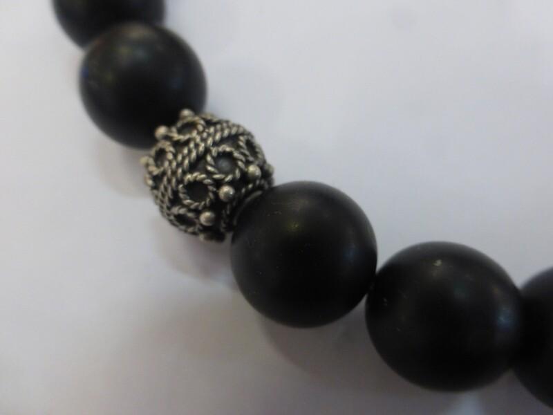 Collier tour de cou en onyx noir, mat et perle d'argent 925, 47 cm