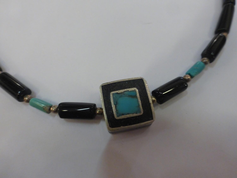 Tour de cou en onyx noir, pendentif en argent 925 44 cm