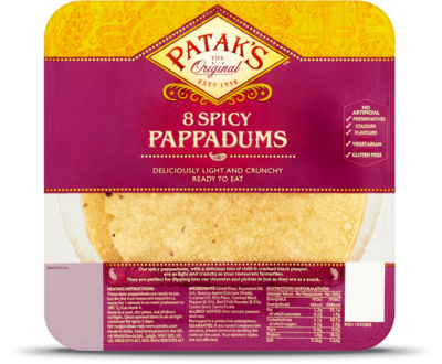 PATAKS RTE SPICY PAPPADUMS 60G