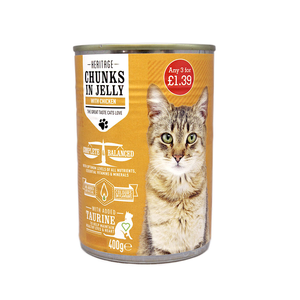 HERITAGE CAT CAN CHICKEN IN JELLY 400G