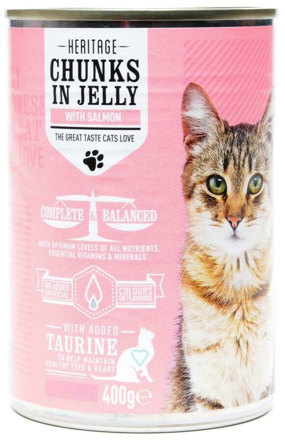 HERITAGE CAT CAN SALMON IN JELLY 400G