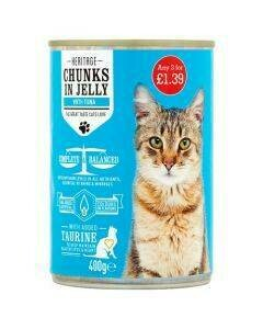 HERITAGE CAT CAN TUNA IN JELLY 400G