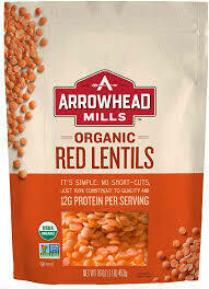 ARROWHEAD MILLS RED LENTILS 16OZ EA