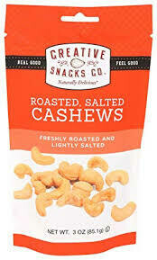 CREATIVE SNACKS ROASTED SALTED CASHEWS BAG