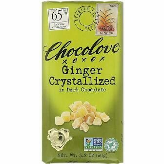 CHOCOLOVE - DARK CHOCOLATE WITH CRYSTALIZED GINGER 3.2 OZ