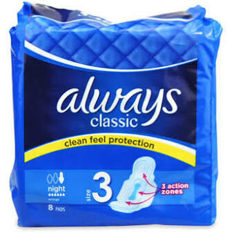 ALWAYS CLASSIC NIGHT SANITARY PADS 8PK