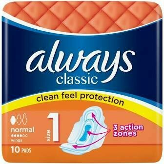 ALWAYS CLASSIC NORMAL SANITARY PADS 10PK
