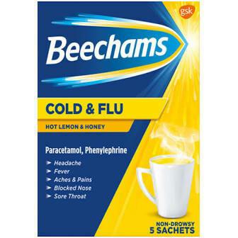 BEECHAMS COLD AND FLU HOT HONEY LEMON