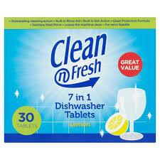 CLEAN FRESH 7IN1 DISHWASHER LEMON TABS 30PK