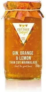 COTTAGE DELIGHT GIN ORNAGE & LEMON THIN CUT MARMALADE 113G