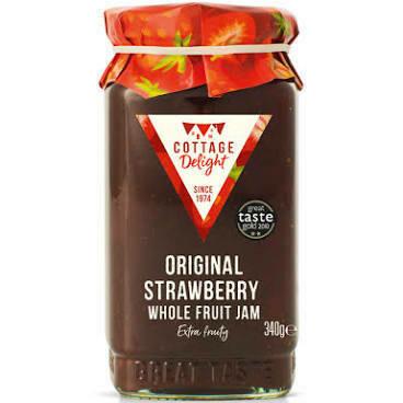 COTTAGE DELIGHT STRAWBERRY & MARC DE CHAMPAGNE WHOLE FRUIT JAM 113G