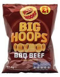 KP BIG HULA HOOPS BBQ BEEF CRISPS 80G