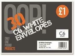 OOP WHITE ENVRLOPES C6 30PK