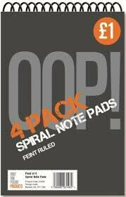 OOP SPIRAL NOTE PAD 6X4 4PK