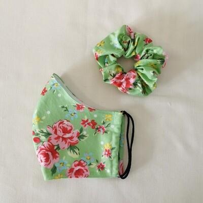 Green Floral Mask and Scrunchie Set