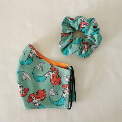 Little Mermaid Mask and Scrunchie Set