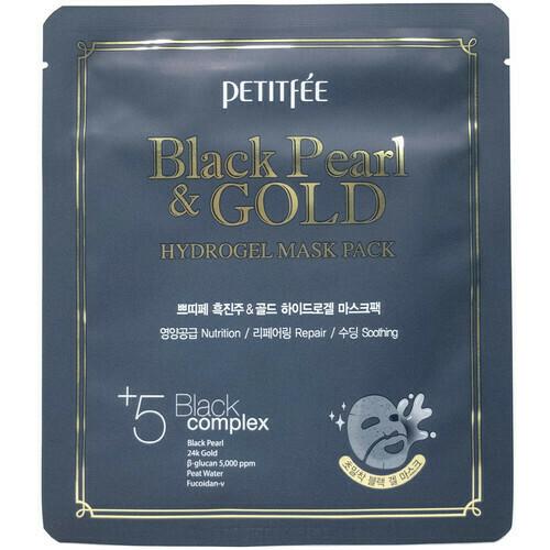 Petitfee Гидрогелевая маска с черной жемч.пудрой и золотом 30 г