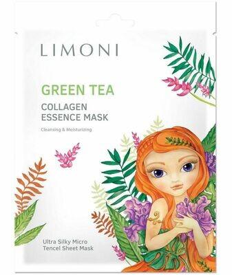 LIMONI Маска для лица тонизирующая с зелёным чаем и коллагеном Green tea collagen essence mask 25гр