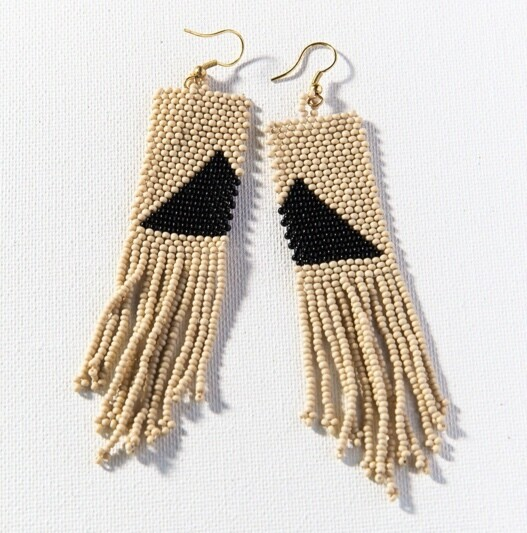 Triangle Beaded Fringe Earring 4 in