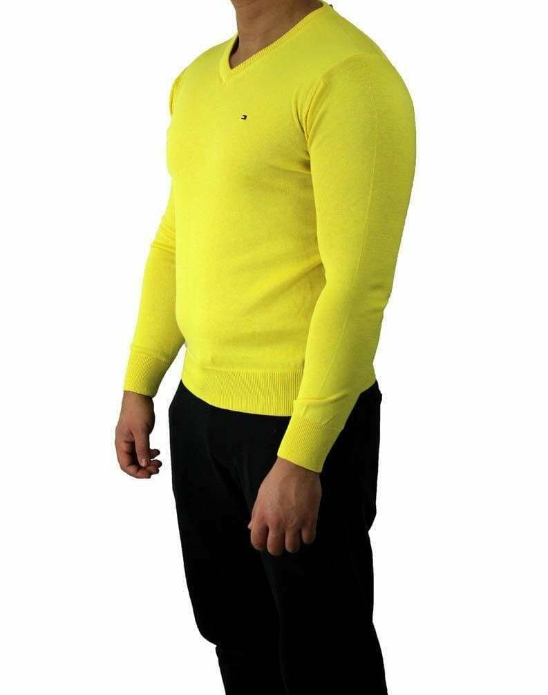 Tommy Hilfiger V Neck Men's Pullover Yellow