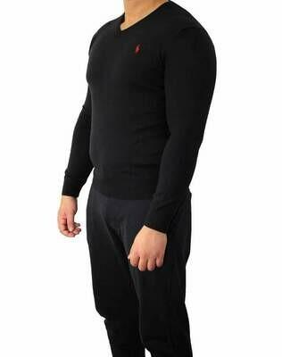 Ralph Lauren V Neck Men's Pullover Black - Red