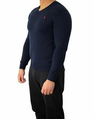 Ralph Lauren V Neck Men's Pullover Navy - Red