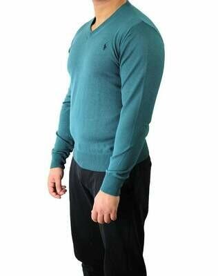 Ralph Lauren V Neck Men's Pullover Turquoise - Navy