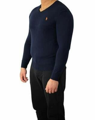 Ralph Lauren V Neck Men's Pullover Navy - Orange