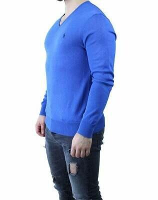 Ralph Lauren V Neck Men's Pullover Sax Blue - Navy