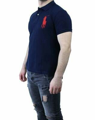 Ralph Lauren Slim Fit Men's Polo Shirts Big Pony Navy - Red