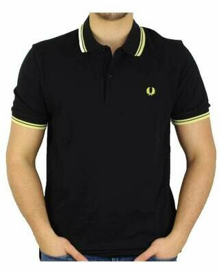 Fred Perry Men's Polo Black - Yellow