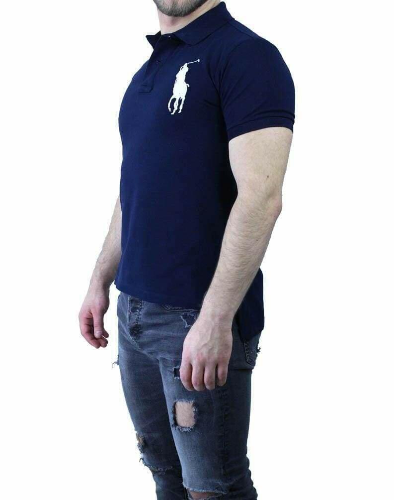 Ralph Lauren Custom Fit Men's Polo Shirts Big Pony Navy - White