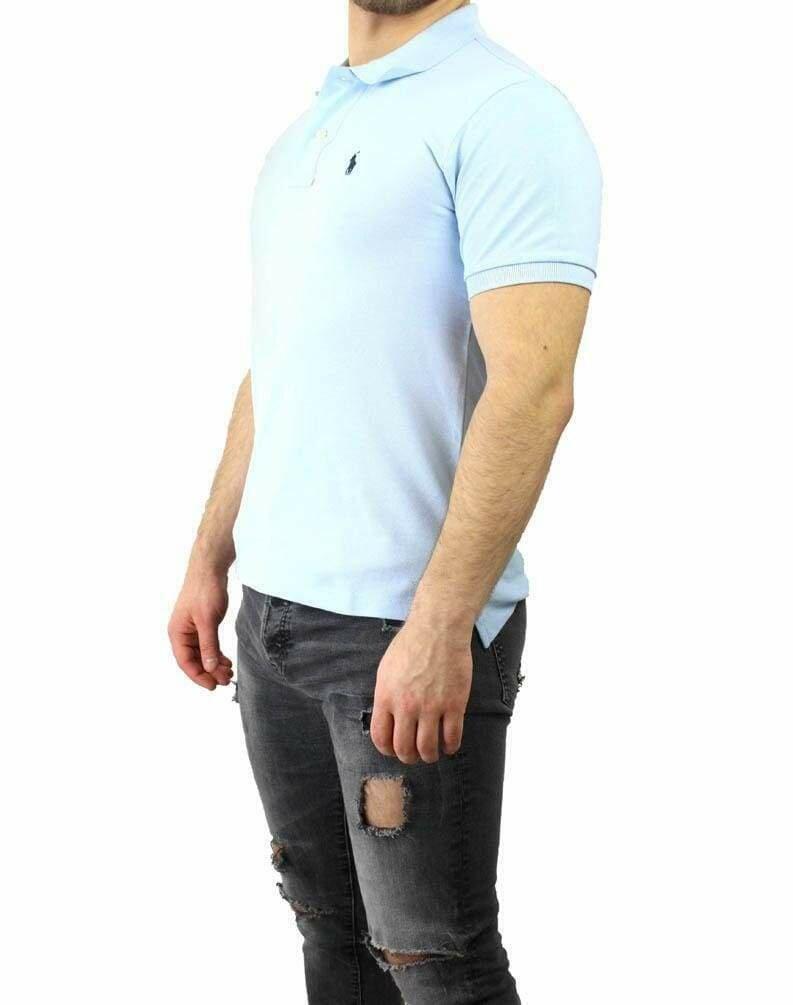 Ralph Lauren Slim Fit Men's Polo Shirts Small Pony Light Blue - Navy