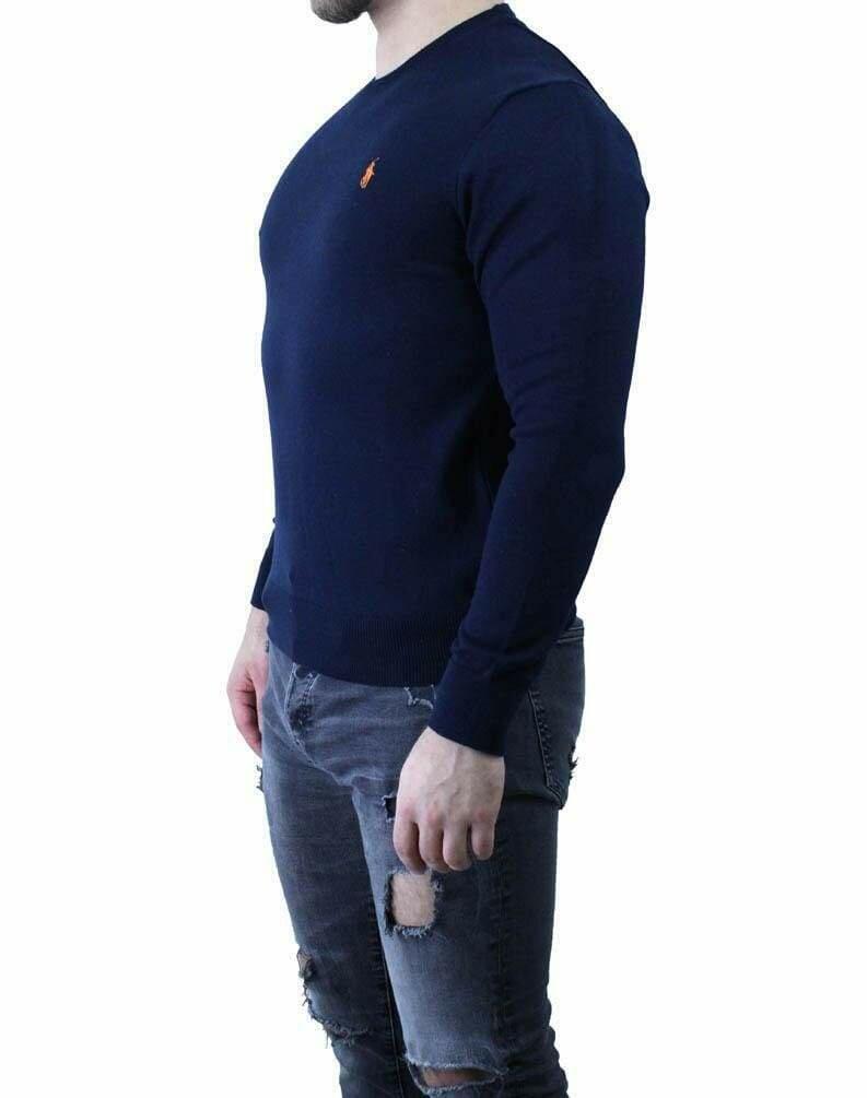 Ralph Lauren Crew Neck Men's Pullover Navy - Orange