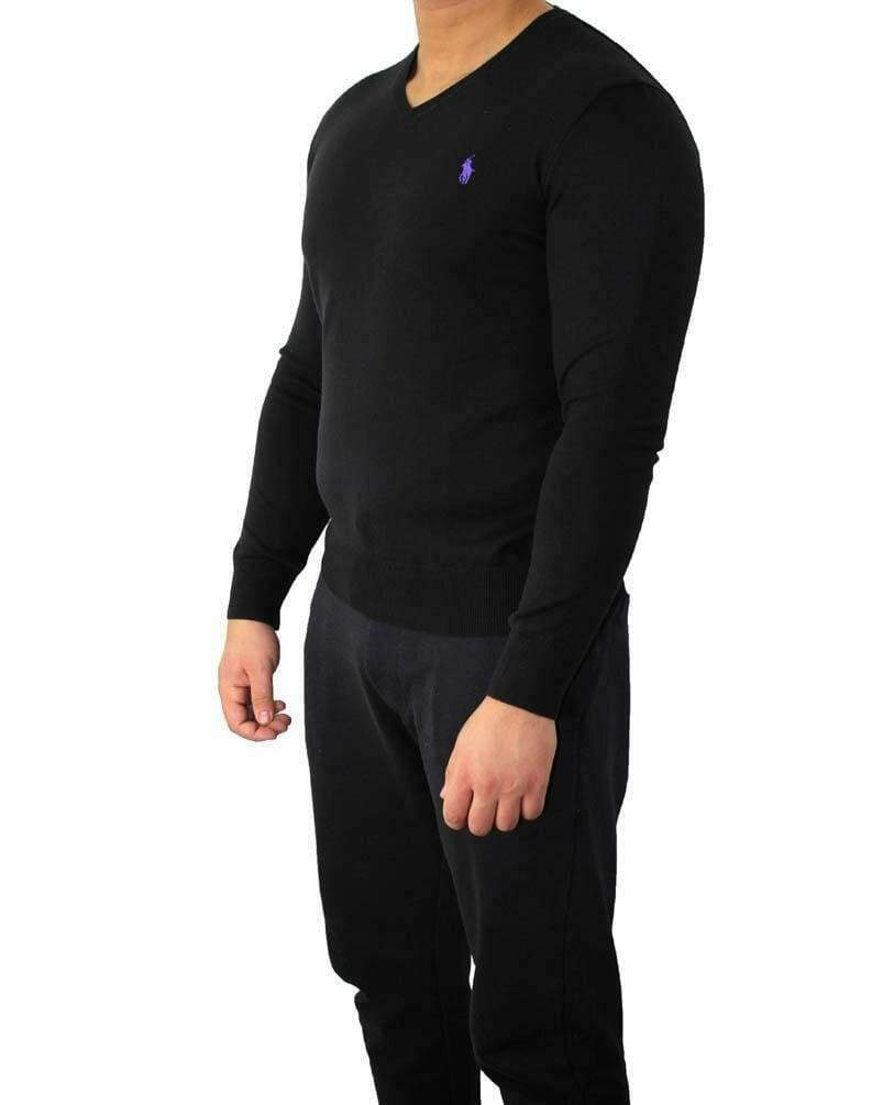Ralph Lauren V Neck Men's Pullover Black - Purple