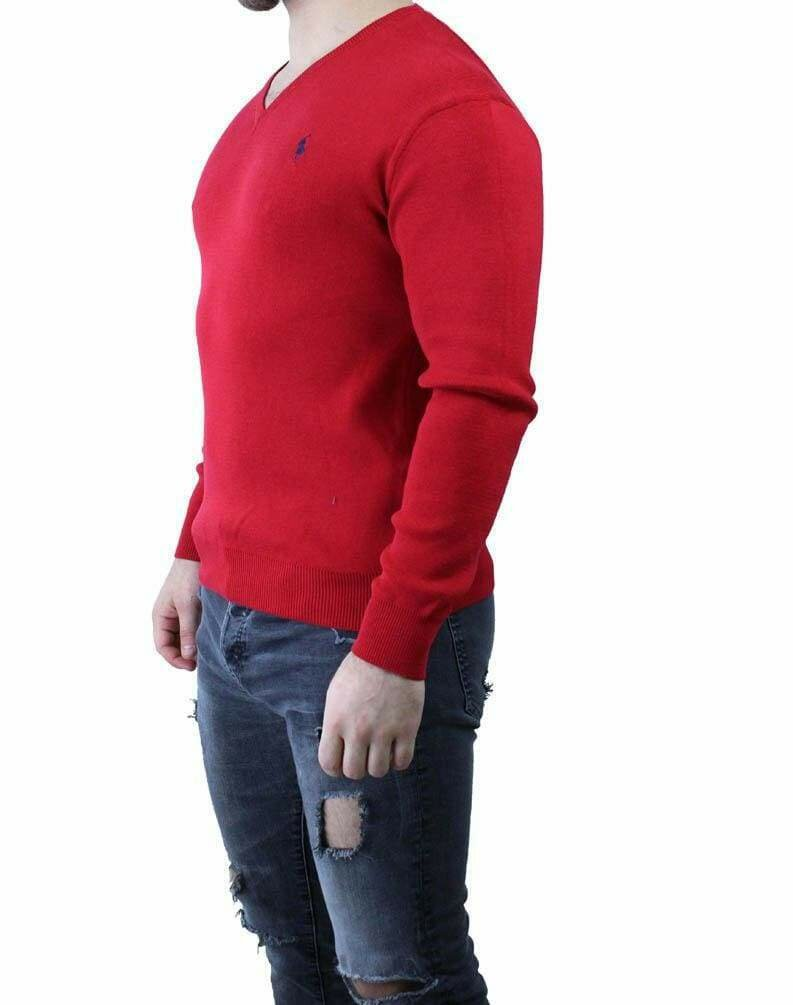 Ralph Lauren V Neck Men's Pullover Red - Navy