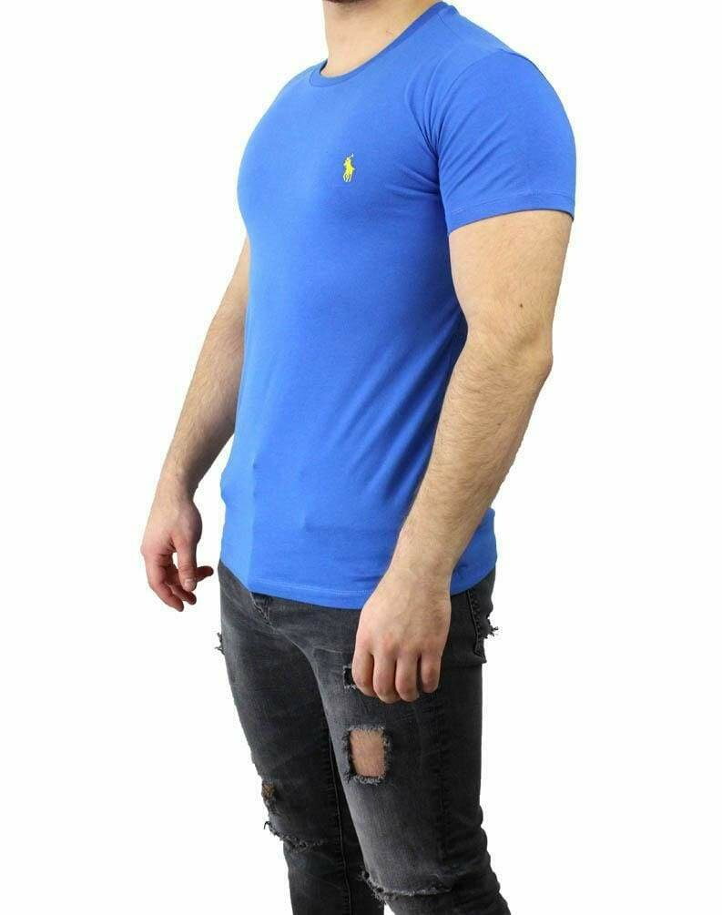 Ralph Lauren Crew Neck Men's T-Shirt Blue - Yellow